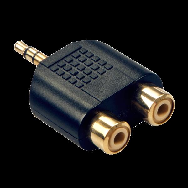 LINDY Stereo Audio-Adapter, 2x RCA Buchse an 3.5mm Klinkenstecker