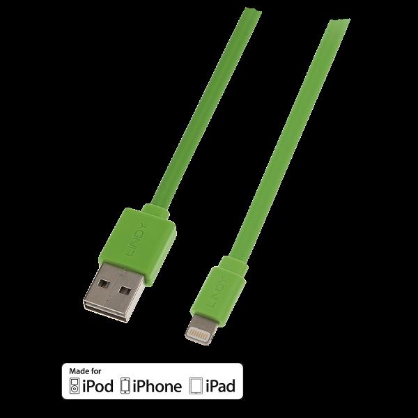 LINDY Reversibles USB an Lightning Flachbandkabel, grün 1m