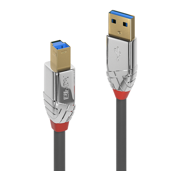 LINDY 0.5m USB 3.0 Typ A an B Kabel, Cromo Line