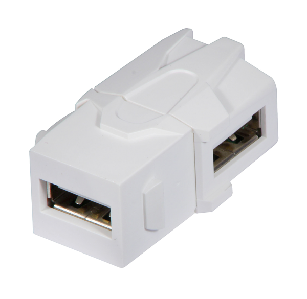 LINDY USB 90° Typ A Doppelkupplung Keystone für Wanddose etc.