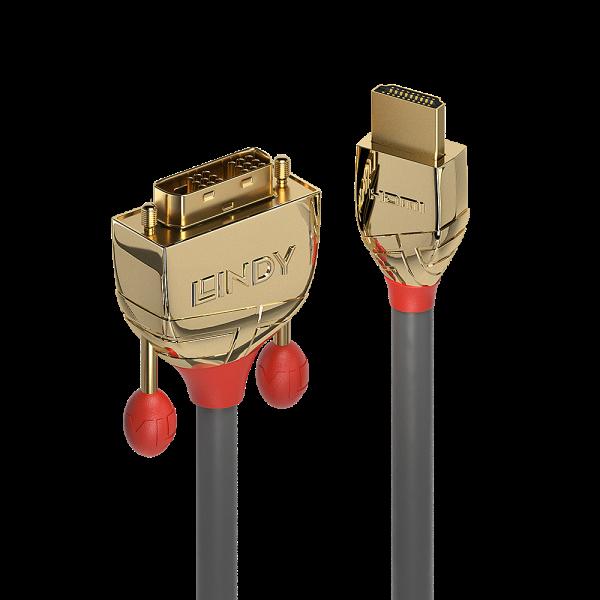 LINDY 0.5m HDMI an DVI Kabel, Gold Line