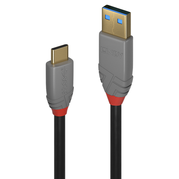LINDY 1m USB 3.1 Typ A an C Kabel, 5A PD, Anthra Line