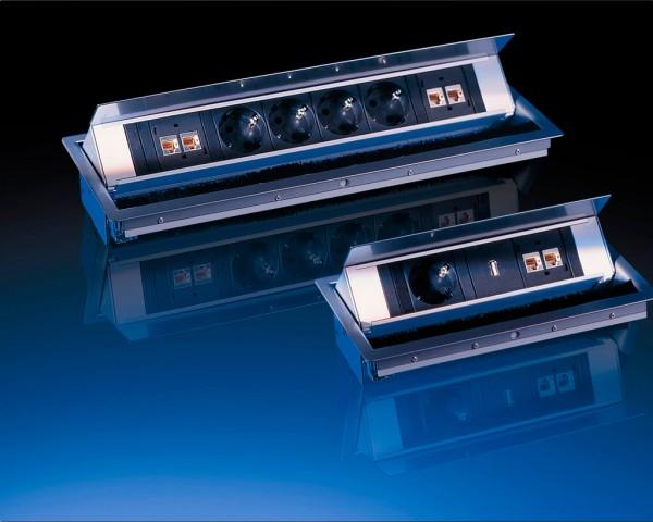 Tischtank Anschlußfeld 4x LAN RJ45 und 4x Steckdose