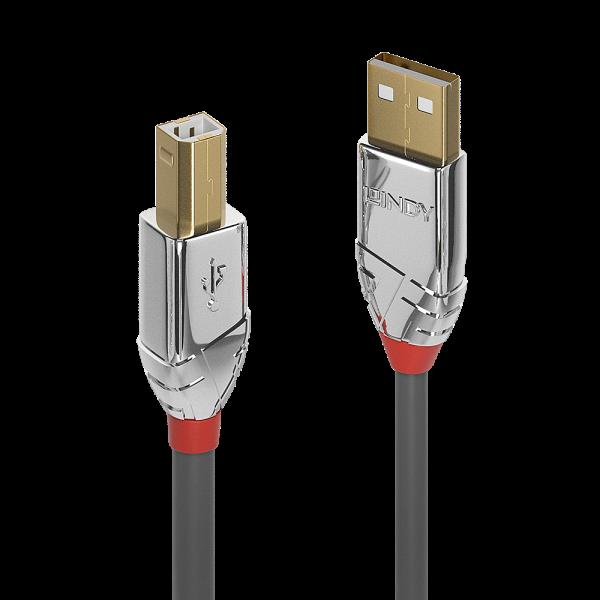 LINDY 0,5m USB 2.0 Typ A an B Kabel, Cromo Line