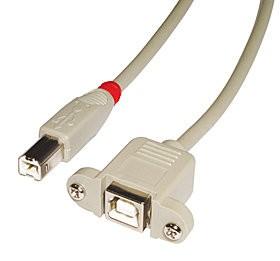 LINDY USB 2.0 Verlängerungskabel Typ B/B, hellgrau, 0,5m
