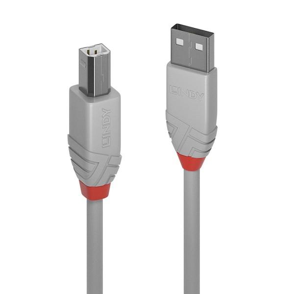 LINDY 1m USB 2.0 Typ A an B Kabel, Anthra Line
