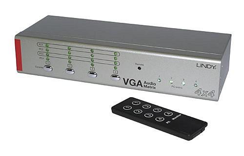 LINDY VGA & Audio Selector Matrix Switch 4x4 - AV Umschalter mit Fernbedienung