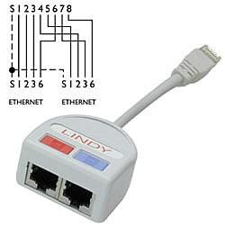 LINDY Port Doubler UTP 2x Fast Ethernet 10/100 über nur ein 8-adriges Kabel
