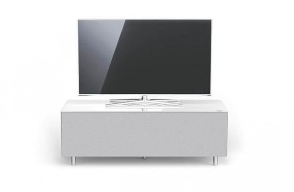 Spectral TV Möbel, weiß, TV freistehend, Stoffront: silber