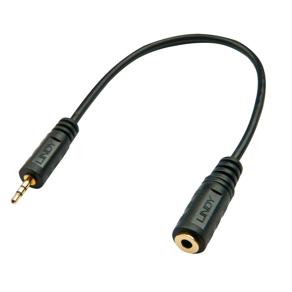 LINDY Premium Audio-Adapterkabel, 2.5mm Klinkenstecker an 3,5mm Klinkenbuchse, 20cm