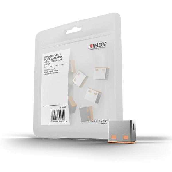 LINDY USB Typ A Port Schloss, orange, 10 Stück
