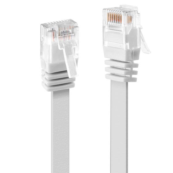 LINDY 0.3m Cat.6 U/UTP Flachband-Netzwerkkabel, weiß