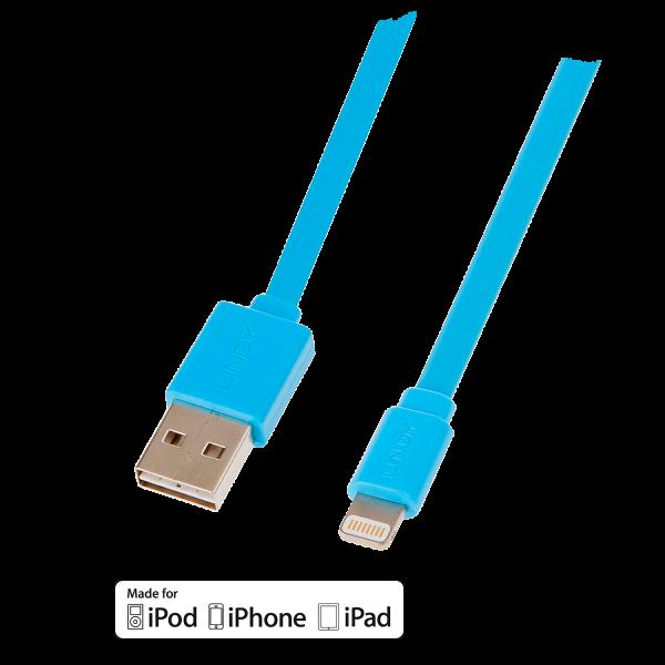 LINDY Reversibles USB an Lightning Flachbandkabel, blau 1m