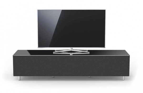 Spectral Just-Racks, breites TV Möbel, schwarz, TV freistehend, mit Stofffront: schwarz