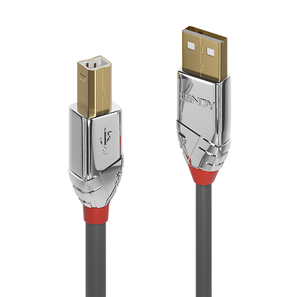LINDY 7,5m USB 2.0 Typ A an B Kabel, Cromo Line