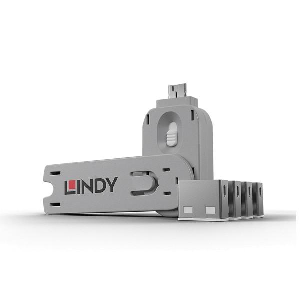 LINDY USB Typ A Port Schloss, weiß