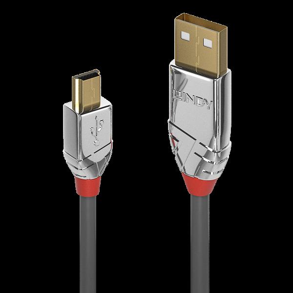 LINDY 3m USB 2.0 Typ A an Mini-B Kabel, Cromo Line