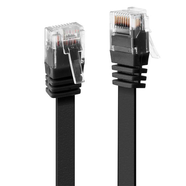 LINDY 0.3m Cat.6 U/UTP Flachband-Netzwerkkabel, schwarz