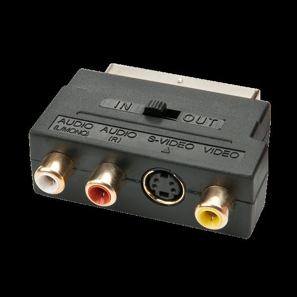 LINDY Scart Adapter, S-VHS, S-Video, CV (3x RCA) mit Umschalter für Line-In/Line-Out