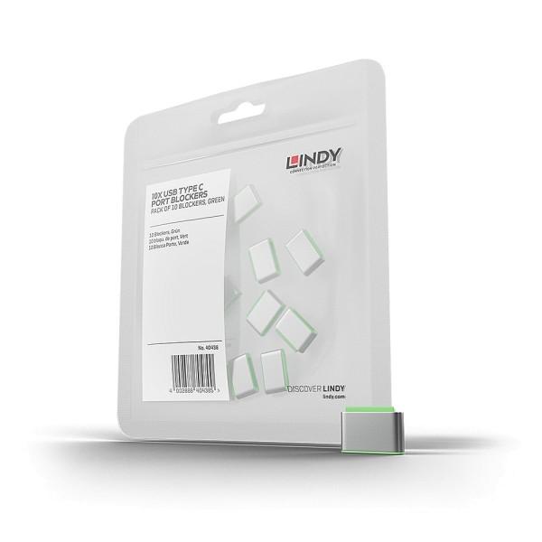 LINDY USB Typ C Port Schloss, grün, 10 Stück
