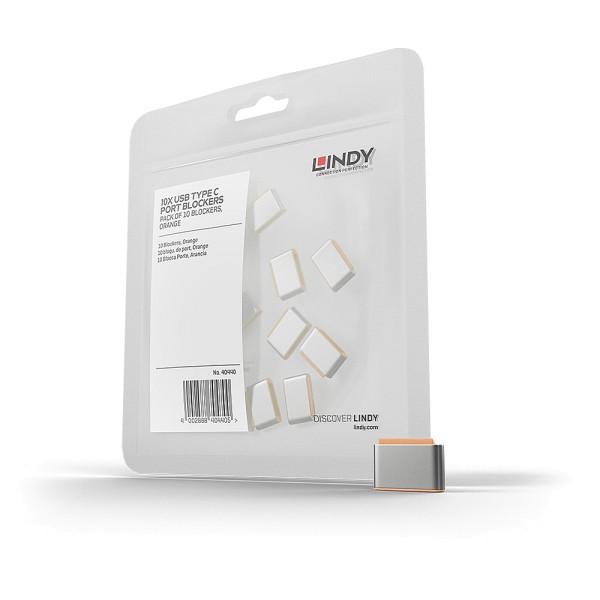 LINDY USB Typ C Port Schloss, orange, 10 Stück
