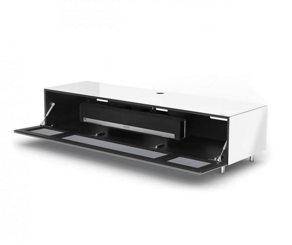 Spectral Just-Racks, breites TV Möbel, weiß, TV freistehend, mit Stofffront: silber