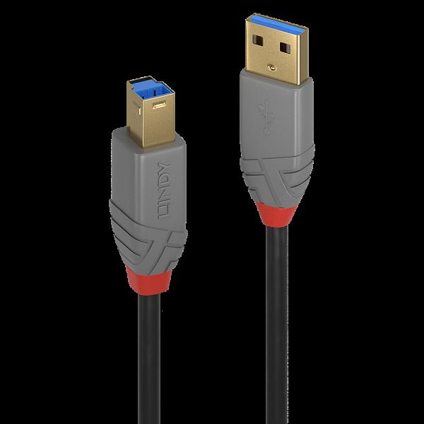 LINDY 2m USB 3.0 Typ A an B Kabel, Anthra Line
