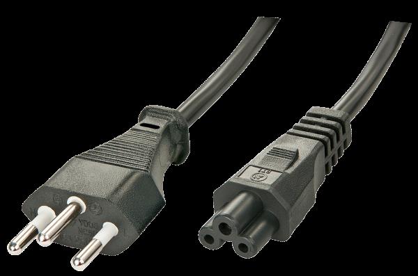 LINDY 2m Schweizer Netzstecker an IEC C5