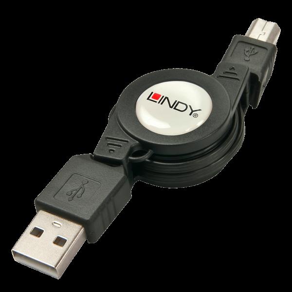 LINDY Verlängerungskabel USB 2.0 Typ A/B aufrollbar
