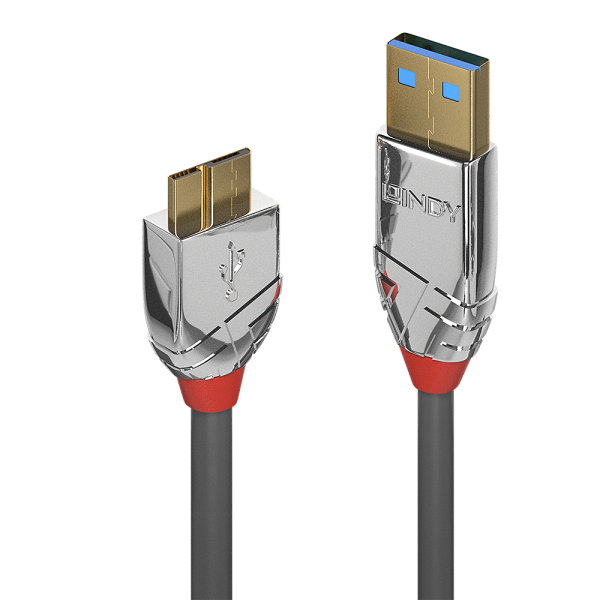 LINDY 3m USB 3.0 Typ A an Micro-B Kabel, Cromo Line