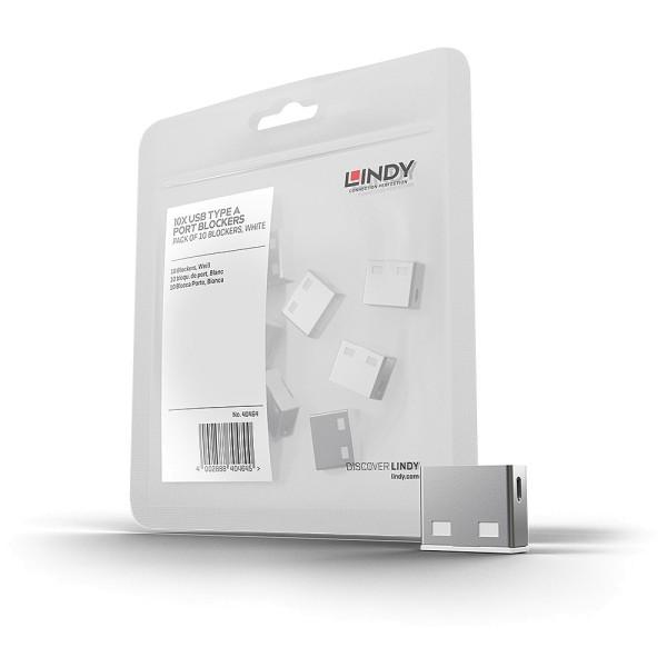 LINDY USB Typ A Port Schloss, weiß, 10 Stück