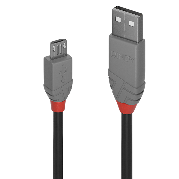 LINDY 0.2m USB 2.0 Typ A an Micro-B Kabel, Anthra Line