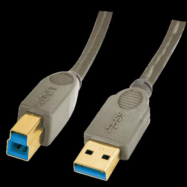 LINDY Premium USB 3.0 Kabel A/B, 0,5m