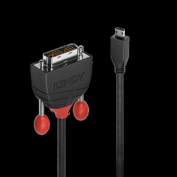 LINDY 2m Micro HDMI an DVI Kabel, Black Line
