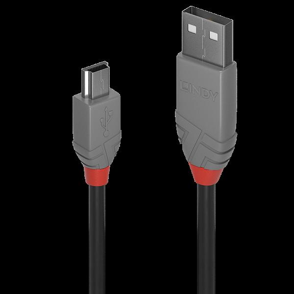 LINDY 0,5m USB 2.0 Typ A an Mini-B Kabel, Anthra Line