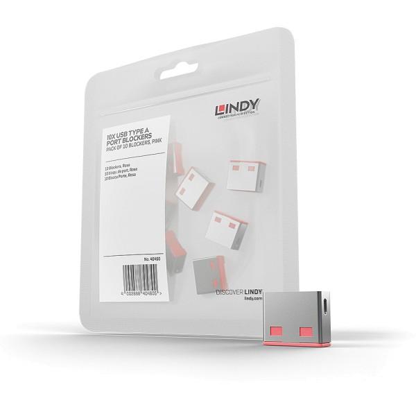 LINDY USB Typ A Port Schloss, pink, 10 Stück