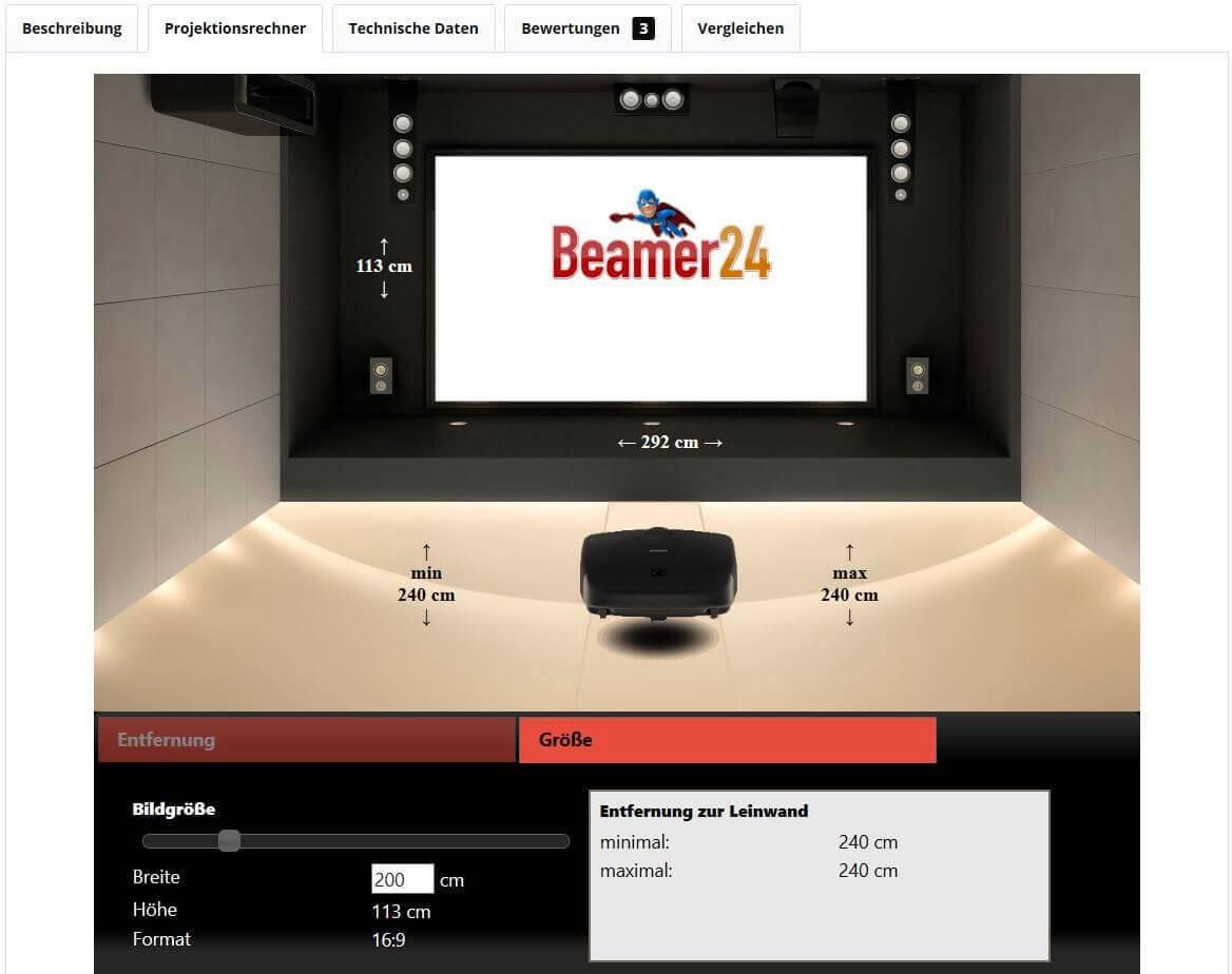 projektionsrechner entfernungsrechner abstand zum beamer. Black Bedroom Furniture Sets. Home Design Ideas