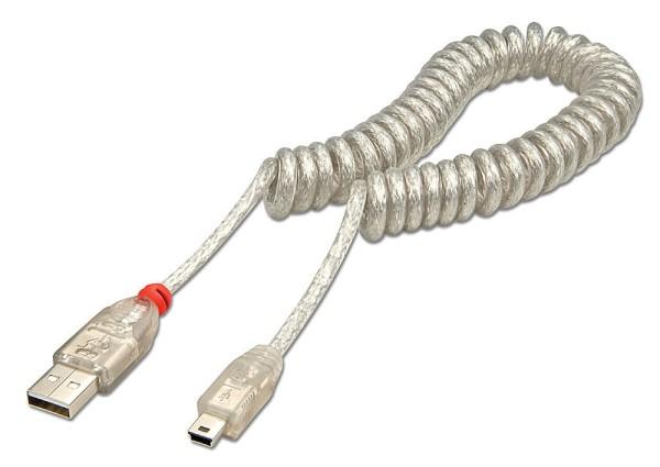 LINDY USB 2.0 Spiralkabel Typ A/Mini-B, 0,2m-2m