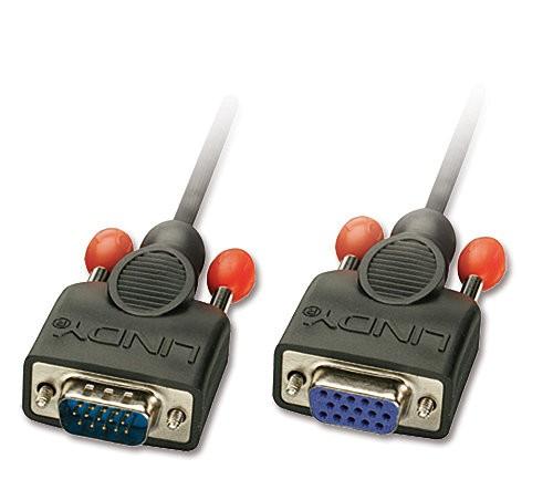 LINDY VGA-Verlängerung ohne Ferritkerne, 15-pol. HD Stecker/Kupplung 3m