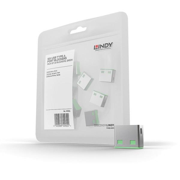 LINDY USB Typ A Port Schloss, grün, 10 Stück