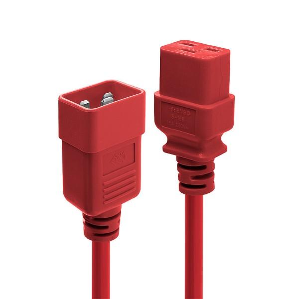 LINDY 1m IEC-Verlängerungskabel, rot