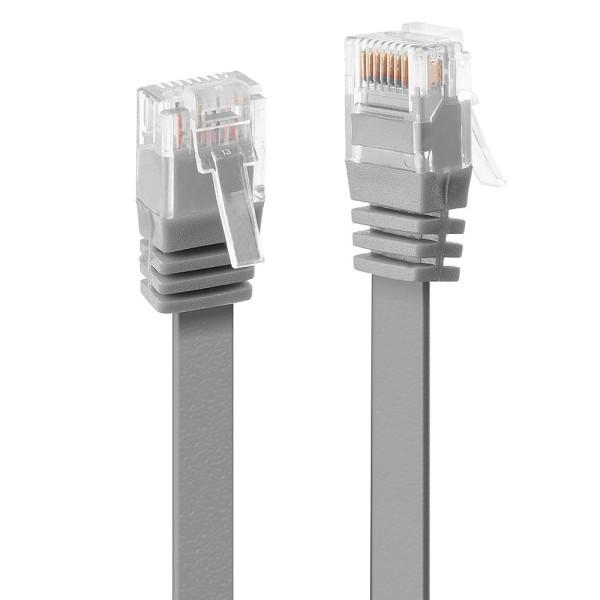 LINDY 0.3m Cat.6 U/UTP Flachband-Netzwerkkabel, grau