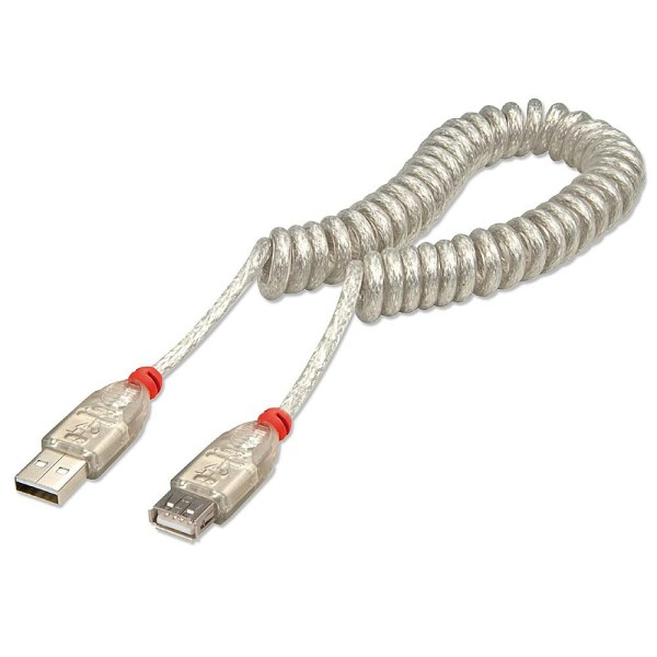 LINDY USB 2.0 Verlängerung als Spiralkabel, Typ A/A hellgrau, 0,3m-2m